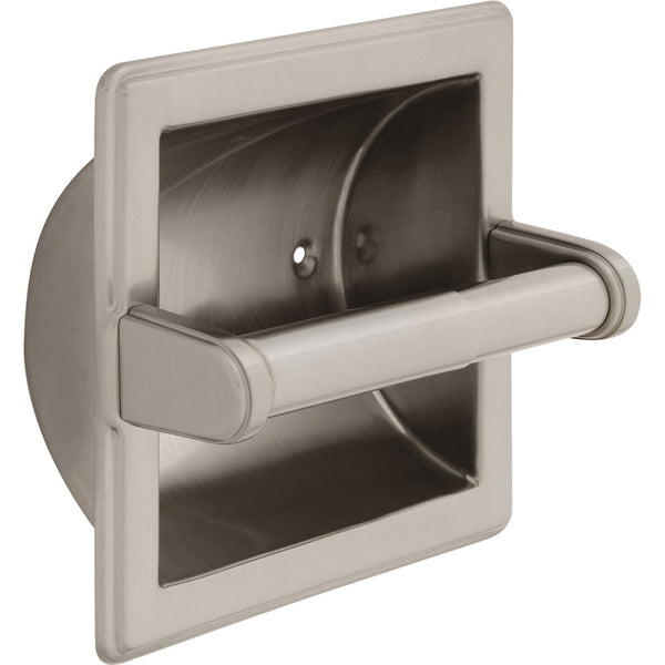 Recessed Toilet Paper Holder with Stainless Steel Construction Satin Nickel