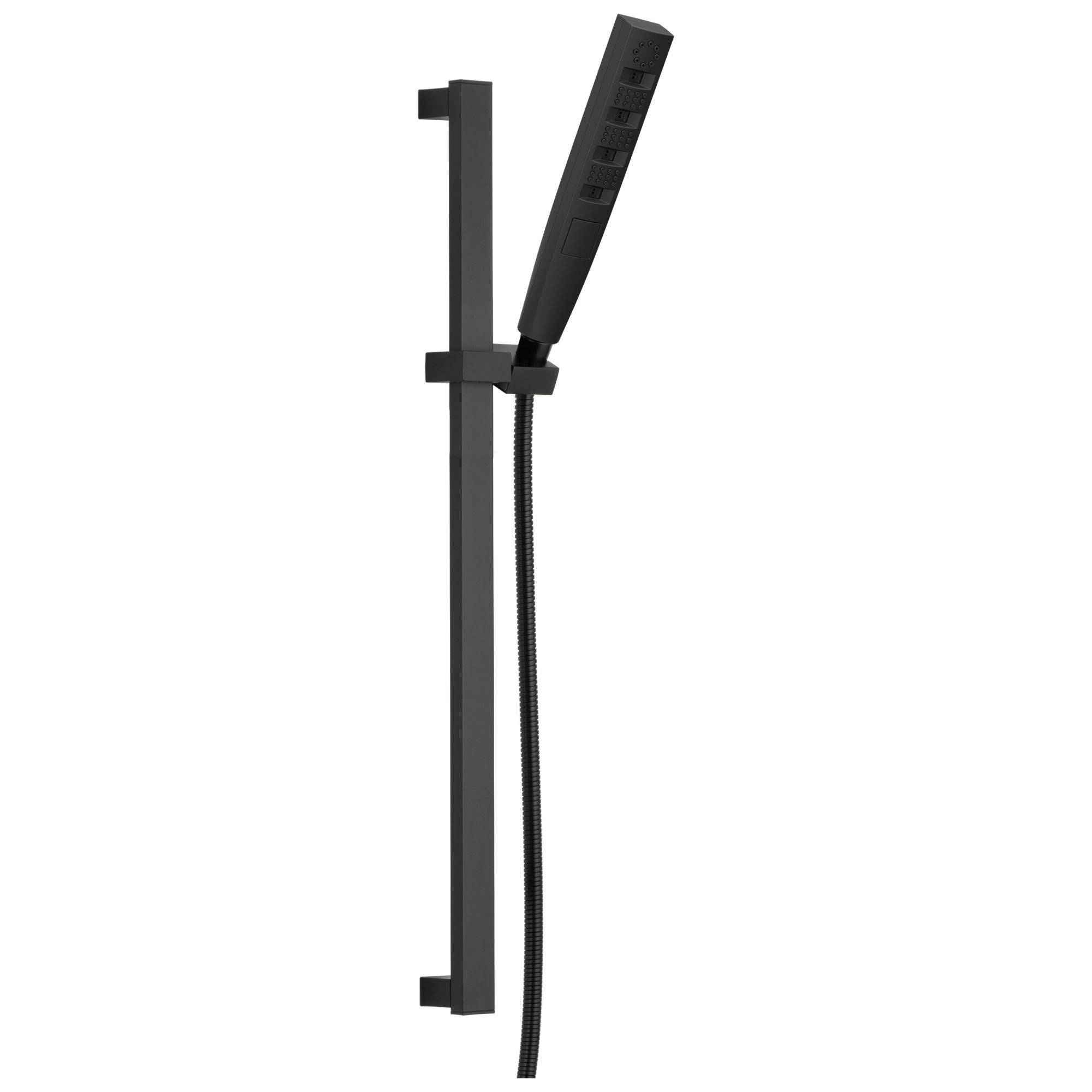 Delta Matte Black Finish H2Okinetic 4-Setting Modern Slide Bar Hand Shower with Hose D51140BL