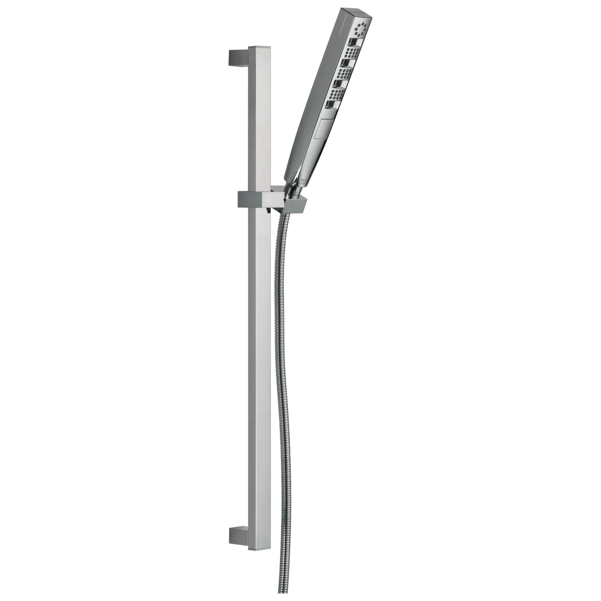 Delta Universal Showering Components Collection Chrome Finish Zura Modern Multi-Function Hand Shower with Wall Slide Bar and Hose 743911