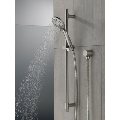 Delta Stainless Steel Finish 4-Setting Hand Shower Spray with Slide Bar, Hose, and Wall Elbow D51361SS