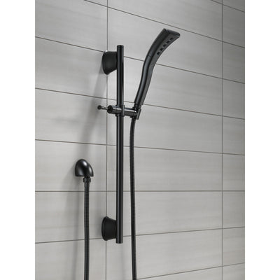 Delta Matte Black Finish Single-Setting H2Okinetic Slide Bar Hand Shower with Hose D51579BL