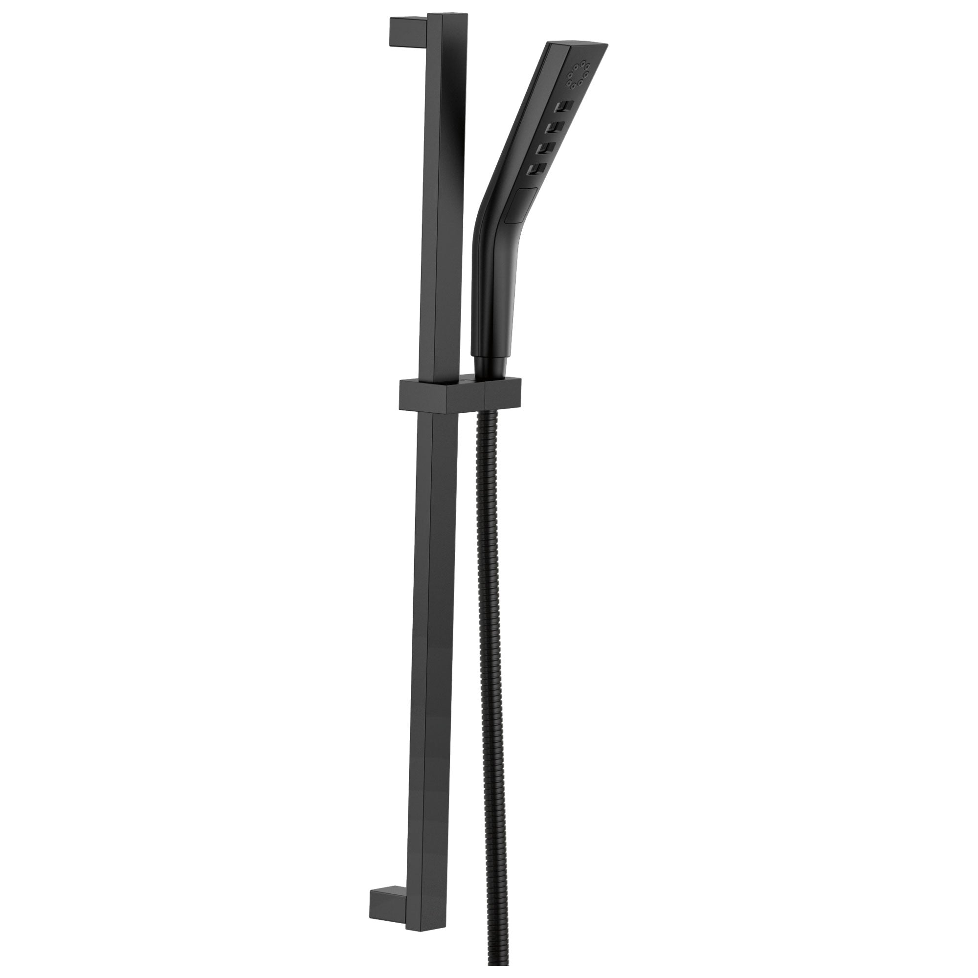 Delta Matte Black Finish H2Okinetic Modern 3-Setting Slide Bar Hand Shower with Hose D51799BL