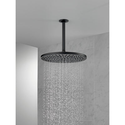 "Delta Matte Black Finish 11-3/4"" Large Round 2.5 GPM Single-Setting Modern Metal Raincan Shower Head D52158BL25"