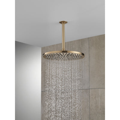 "Delta Champagne Bronze Finish 11-3/4"" Large Round 2.5 GPM Single-Setting Modern Metal Raincan Shower Head D52158CZ25"