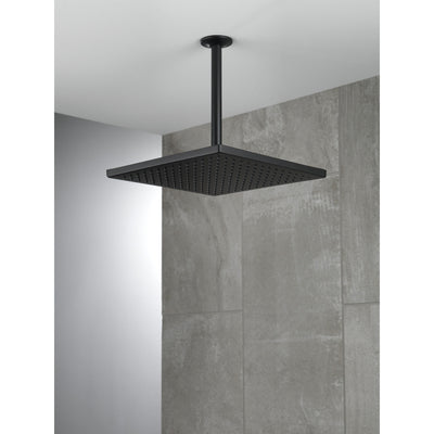 "Delta Matte Black Finish 11-3/4"" Large Square 2.5 GPM Single-Setting Modern Metal Raincan Shower Head D52159BL25"