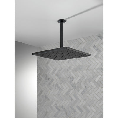 "Delta Matte Black Finish 11-3/4"" Large Square 1.75 GPM Single-Setting Modern Metal Raincan Shower Head D52159BL"