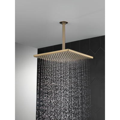 "Delta Champagne Bronze Finish 11-3/4"" Large Square 2.5 GPM Single-Setting Modern Metal Raincan Shower Head D52159CZ25"