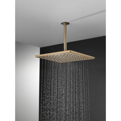"Delta Champagne Bronze Finish 11-3/4"" Large Square 1.75 GPM Single-Setting Modern Metal Raincan Shower Head D52159CZ"