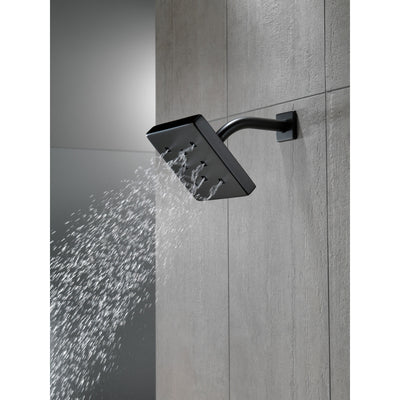 Delta Matte Black Finish H2Okinetic Single-Setting Metal Square Raincan Shower Head D52171BL