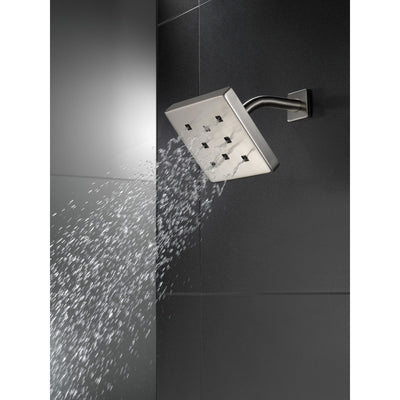 Delta Stainless Steel Finish H2Okinetic Single-Setting Metal Square Raincan Shower Head D52171SS