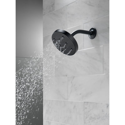 Delta Matte Black Finish H2Okinetic Single-Setting Round Metal Raincan Shower Head D52175BL