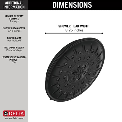 "Delta Matte Black Finish 1.75 GPM UltraSoak 4-Setting 8.25"" Shower Head D52487BL"