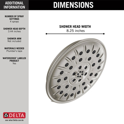 "Delta Stainless Steel Finish 1.75 GPM UltraSoak 4-Setting 8.25"" Shower Head D52487SS"