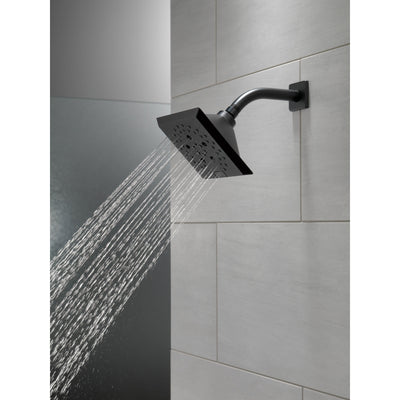 Delta Matte Black Finish H2Okinetic 5-Setting Angular Modern Raincan Shower Head D52664BL