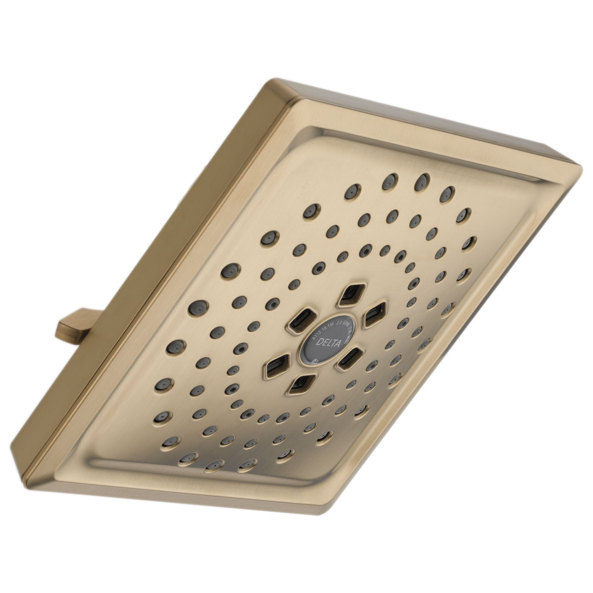 Delta Universal Showering Components Collection Champagne Bronze Finish H2Okinetic 3-Setting Raincan Square Shower Head 667540