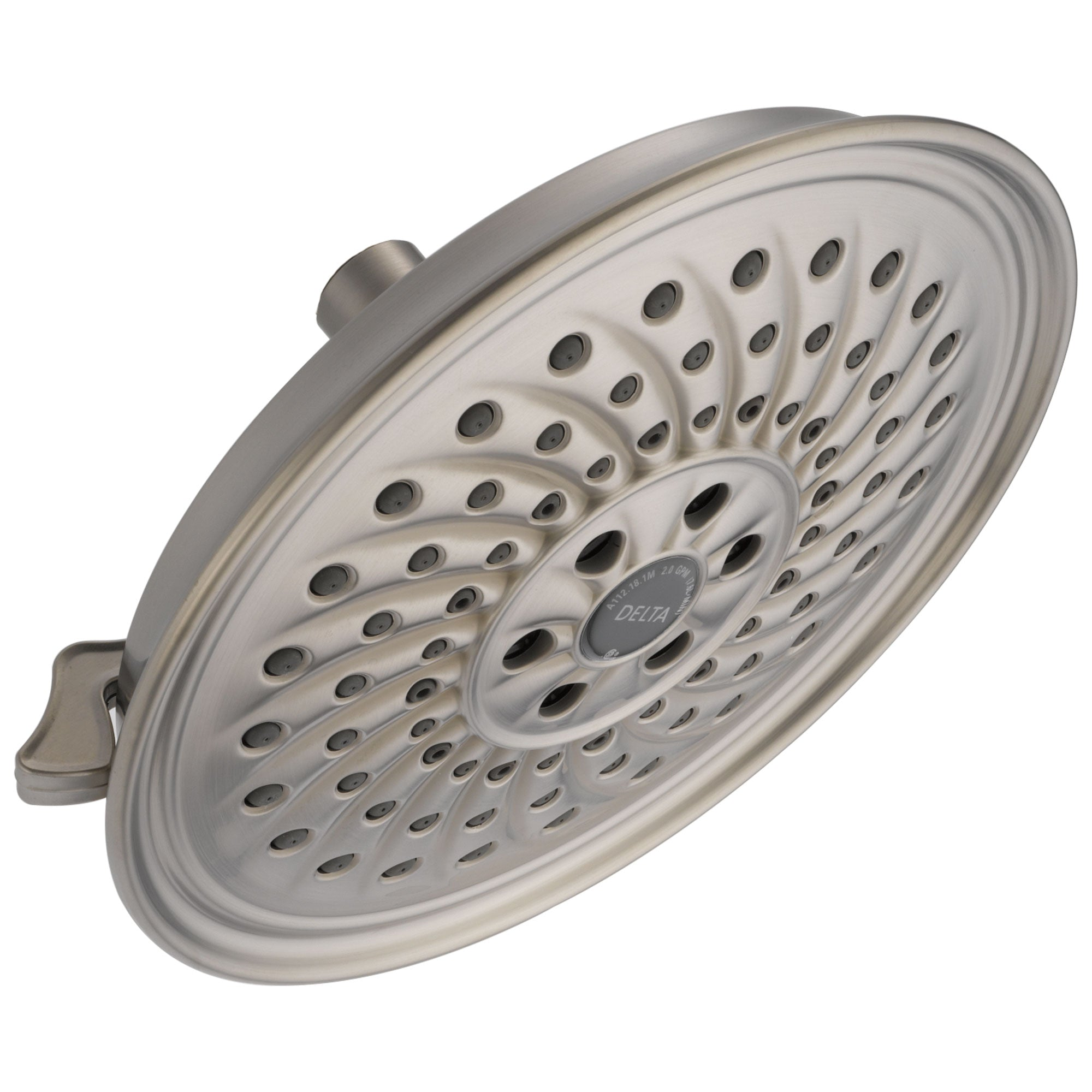 Delta Universal Showering Components Collection Stainless Steel Finish H2Okinetic 3-Setting Round Raincan Shower Head D52687SS