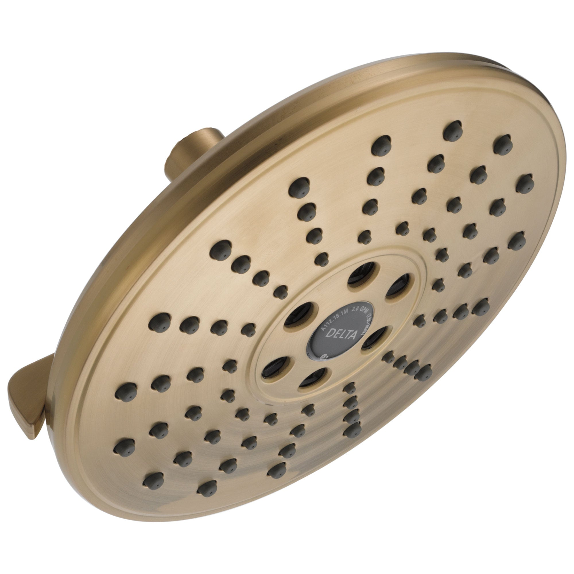 Delta Universal Showering Components Collection Champagne Bronze Finish H2Okinetic 3-Setting Raincan Shower Head D52688CZ
