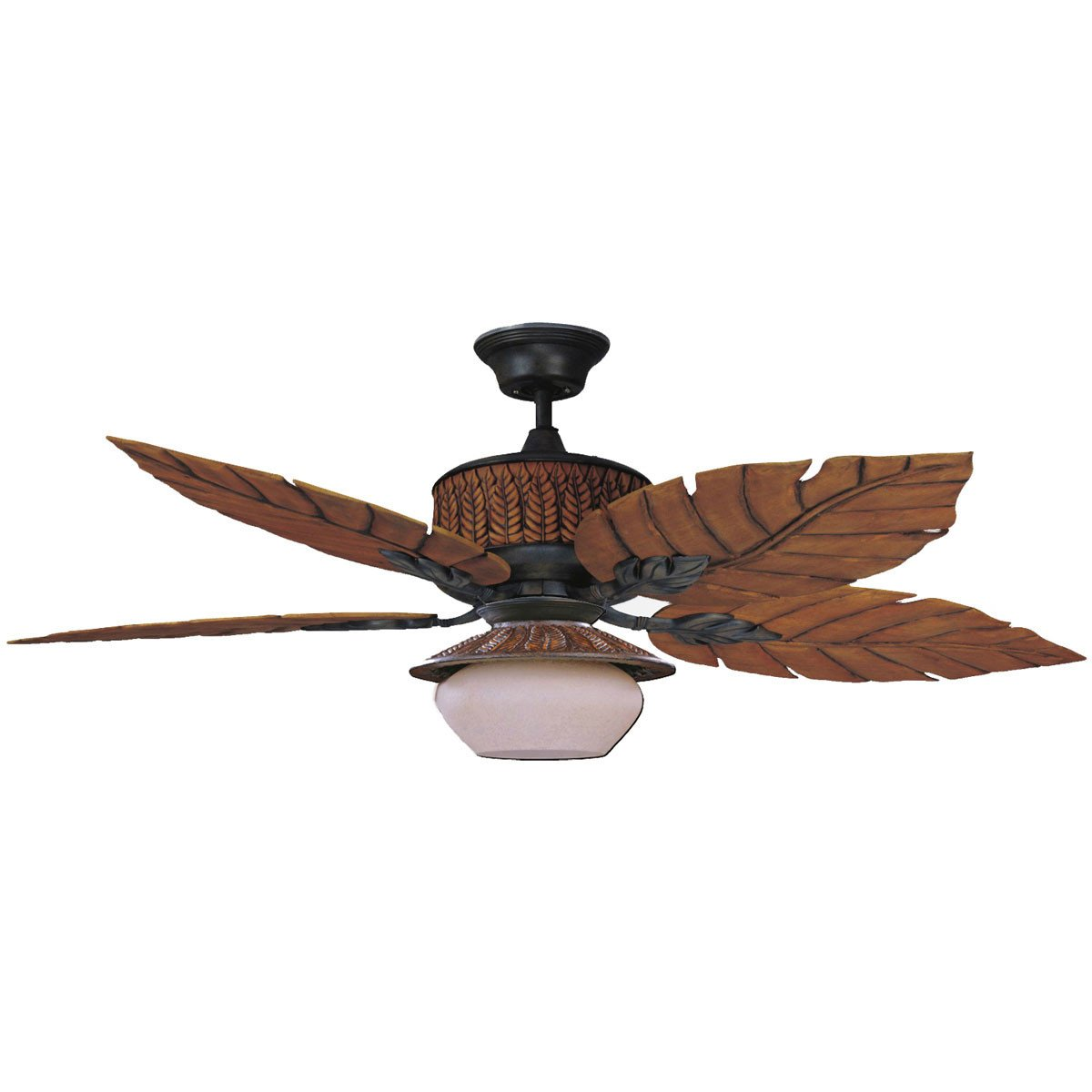 "Concord Fans 52"" Fern Leaf Breeze Rustic Iron Outdoor Ceiling Fan with Light"