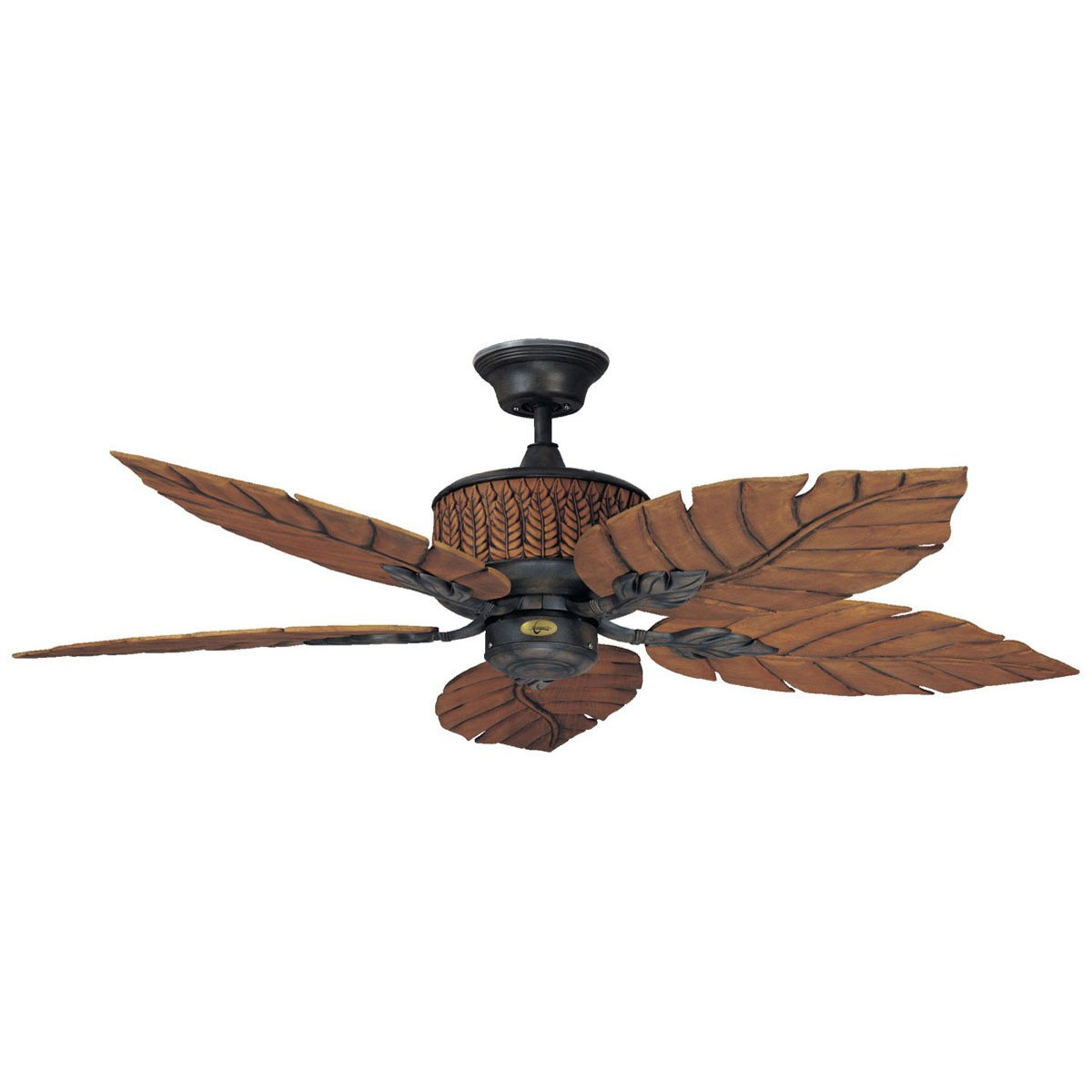 "Concord Fans 52"" Fern Leaf Breeze Rustic Iron Outdoor Ceiling Fan"