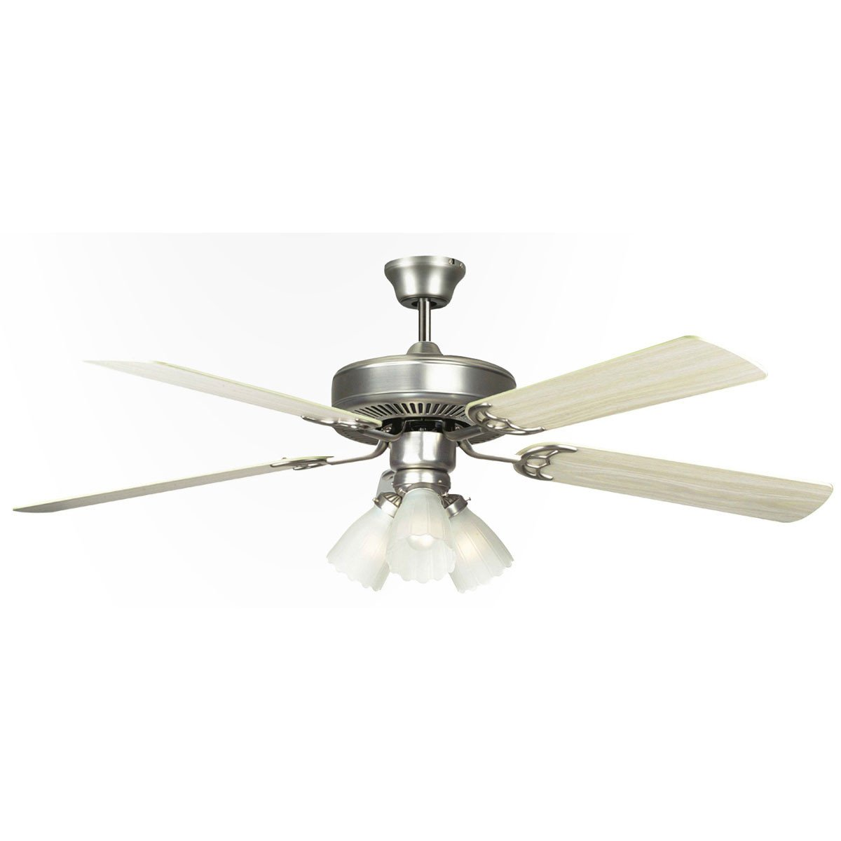 "Concord Fans 52"" Home Air Satin Nickel Modern Ceiling Fan with 3 Lights Kit"