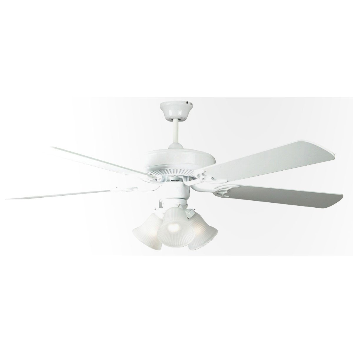 "Concord Fans 52"" Home Air White Modern Ceiling Fan with 3 Lights Kit"