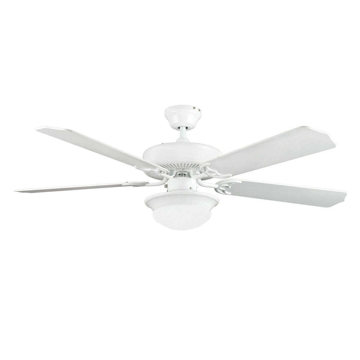 "Concord Fans 52"" Modern Energy Saver White Ceiling Fan with Round Light Kit"
