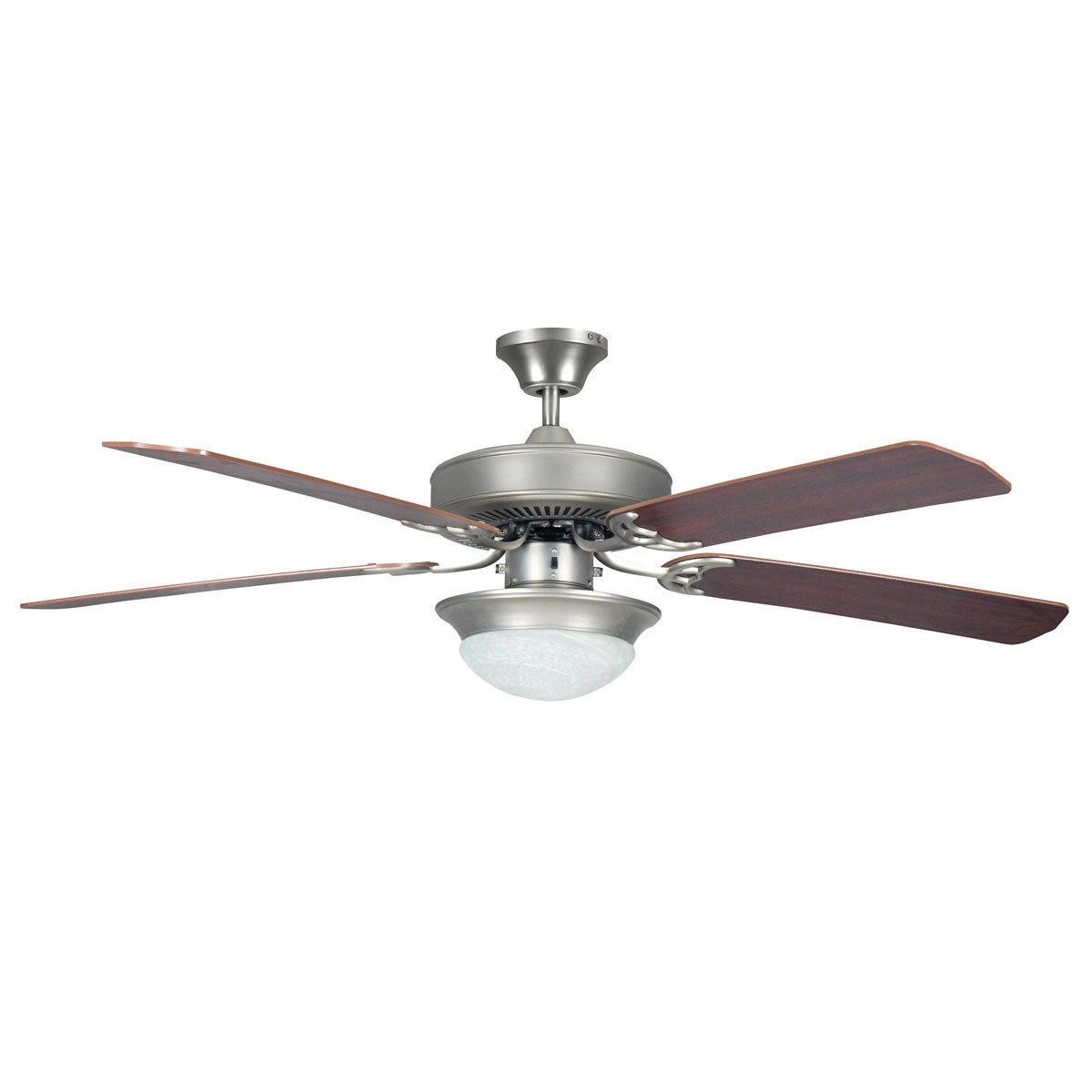 "Concord Fans 52"" Heritage Fusion Satin Nickel Modern Ceiling Fan with Light Kit"