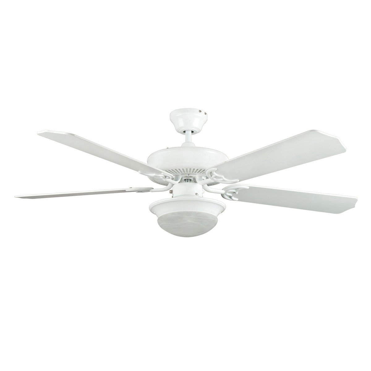 "Concord Fans 52"" Heritage Fusion White Modern Ceiling Fan with Round Light Kit"