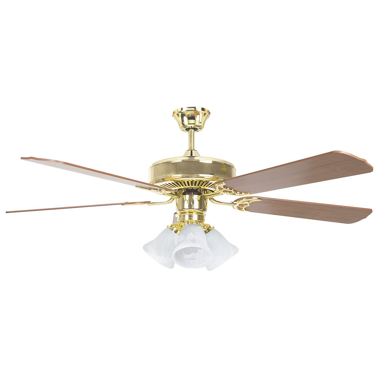 "Concord Fans 52"" Heritage Home Elegant Polished Brass Ceiling Fan with 3 Lights"
