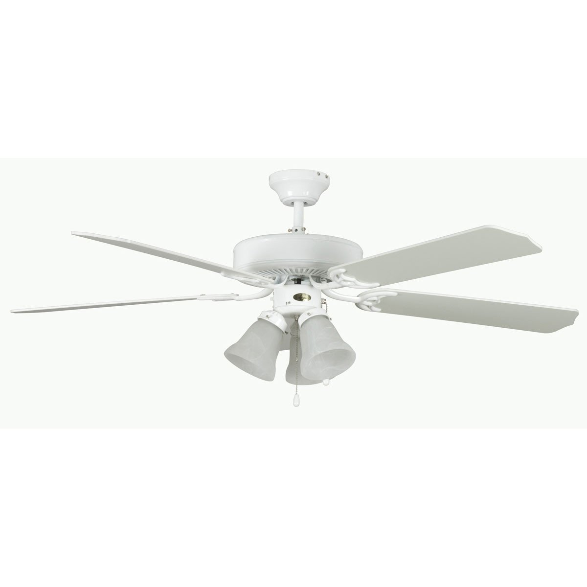 "Concord Fans 52"" Heritage Home Elegant White Ceiling Fan with 3 Lights"