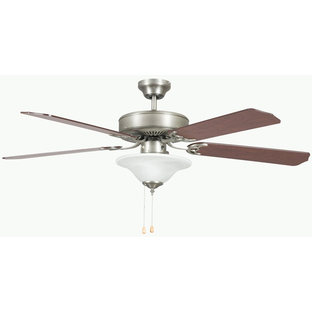 "Concord Fans 52"" Heritage Square Satin Nickel Ceiling Fan with Light Kit"