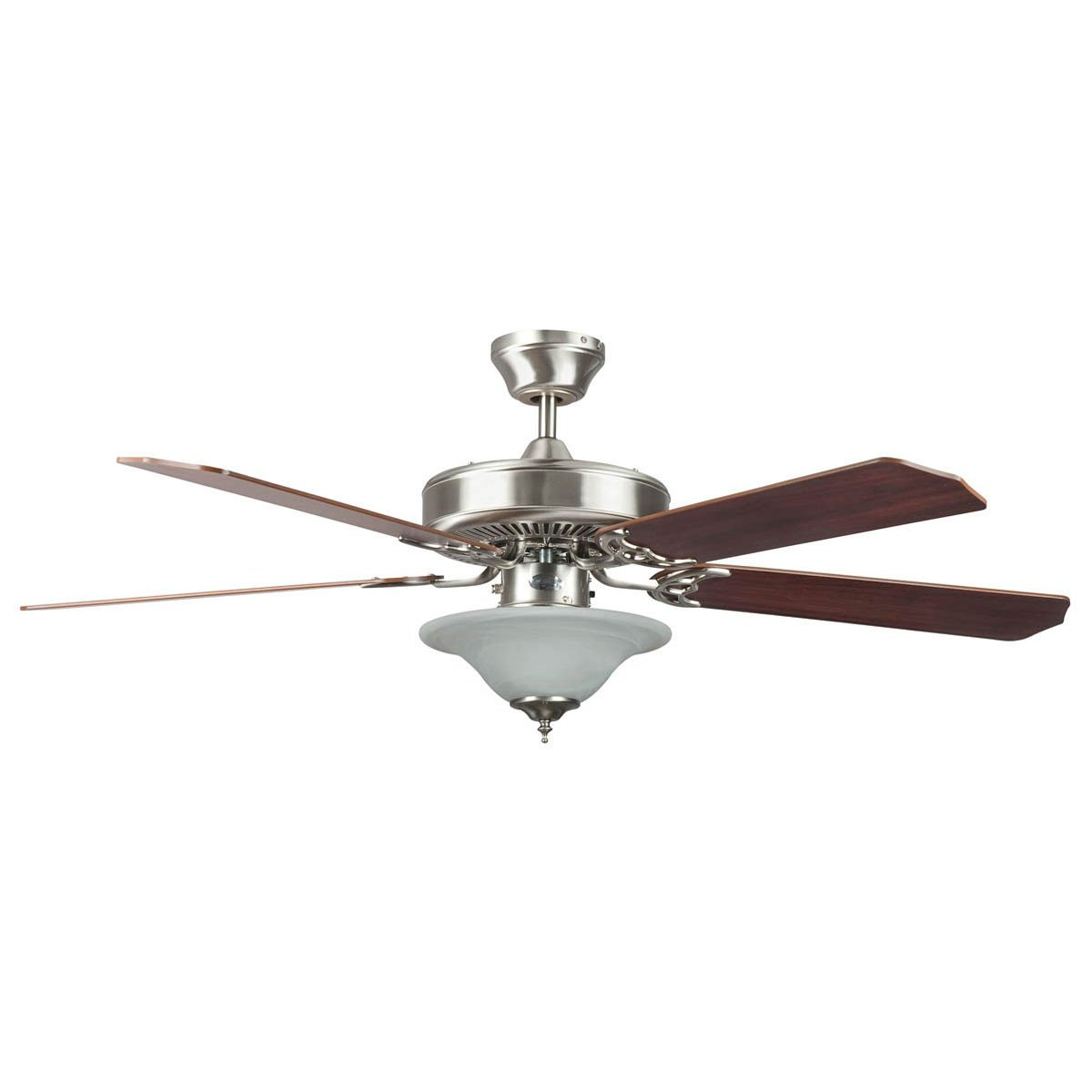 "Concord Fans 52"" Heritage Square Stainless Steel Ceiling Fan with Light Kit"
