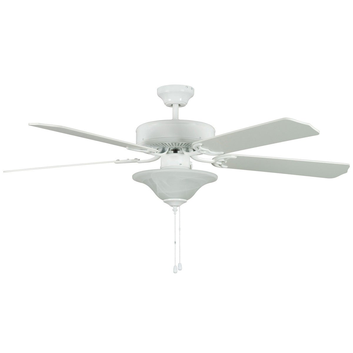 "Concord Fans 52"" Heritage Square Energy Saver White Ceiling Fan with Light Kit"
