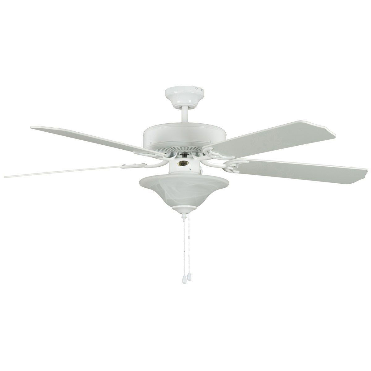 "Concord Fans 52"" Heritage Square White Ceiling Fan with Light Kit"