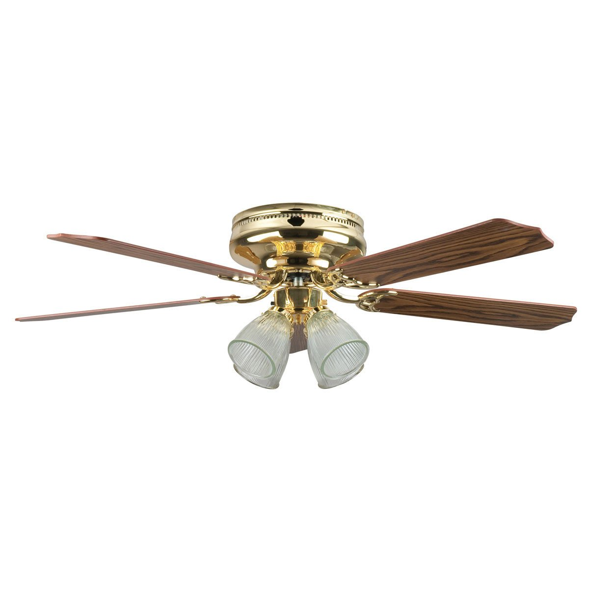 "Concord Fans 52"" Motego Bay Polished Brass Hugger Ceiling Fan with 4 Light Kit"