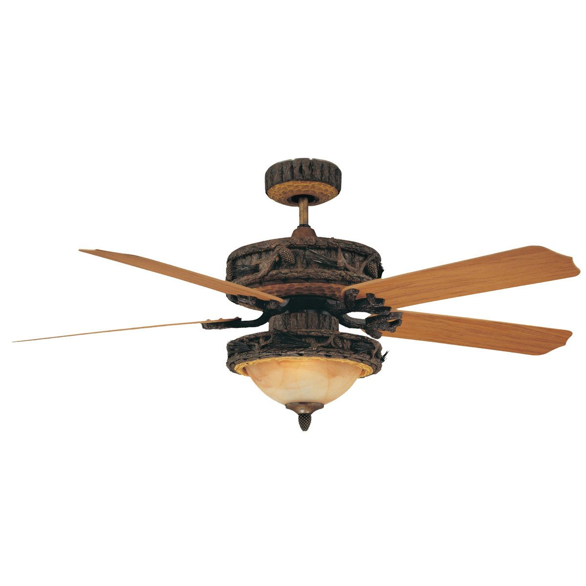 "Concord Fans 52"" Ponderosa Old World Leather Outdoor Ceiling Fan with Light"