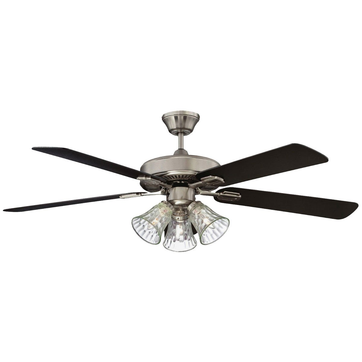 "Concord Fans 52"" Richmond Stainless Steel Finish Ceiling Fan with 3 Lights"