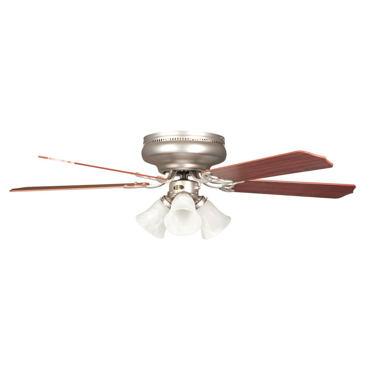 "Concord Fans 52"" Rosemount Hugger Satin Nickel Ceiling Fan with 3 Lights Kit"