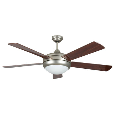 "Concord Fans 52"" Saturn Modern Satin Nickel Ceiling Fan with Light & Remote"