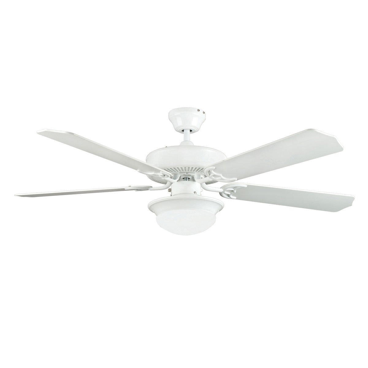 "Concord Fans 52"" Saturn Modern White Ceiling Fan with Light & Remote Control"
