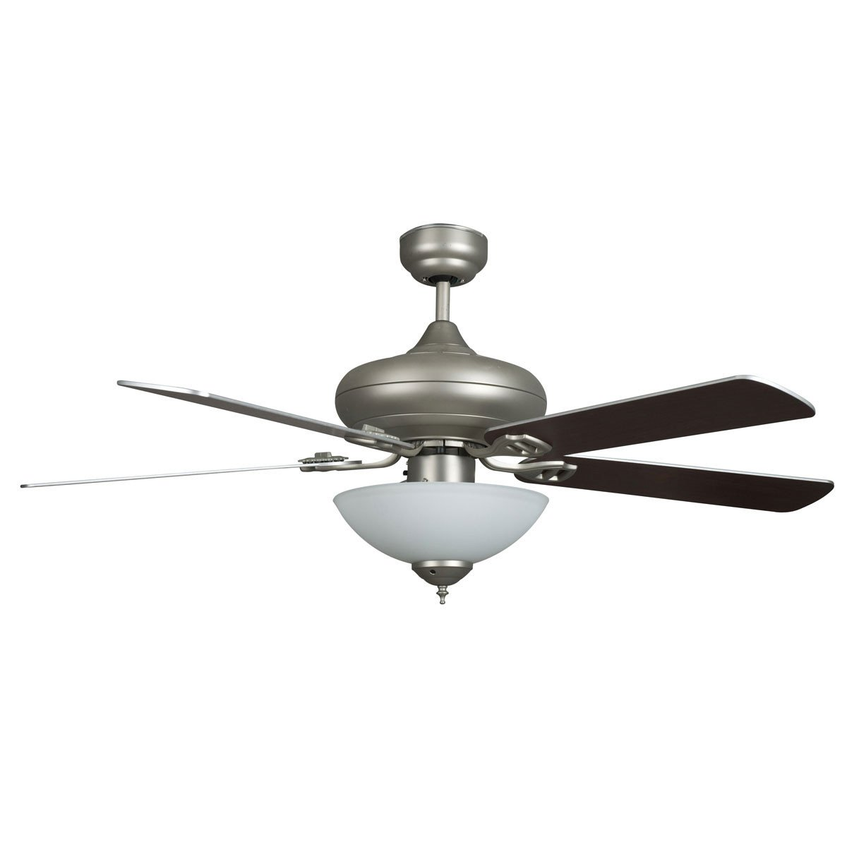 "Concord Fans 52"" Valore Modern Satin Nickel Quick Connect Ceiling Fan with Light"