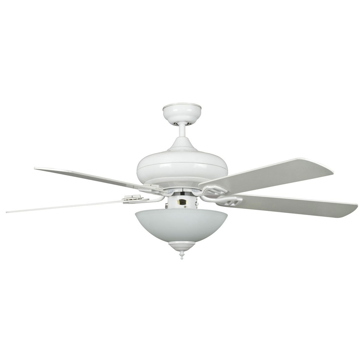 "Concord Fans 52"" Valore Modern White Quick Connect Ceiling Fan with Light"