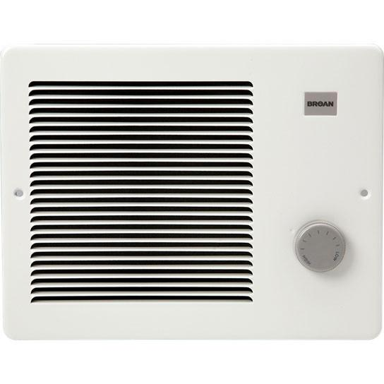 Broan 174 White Small Electric Wall Mounted Heater with Thermostat Knob