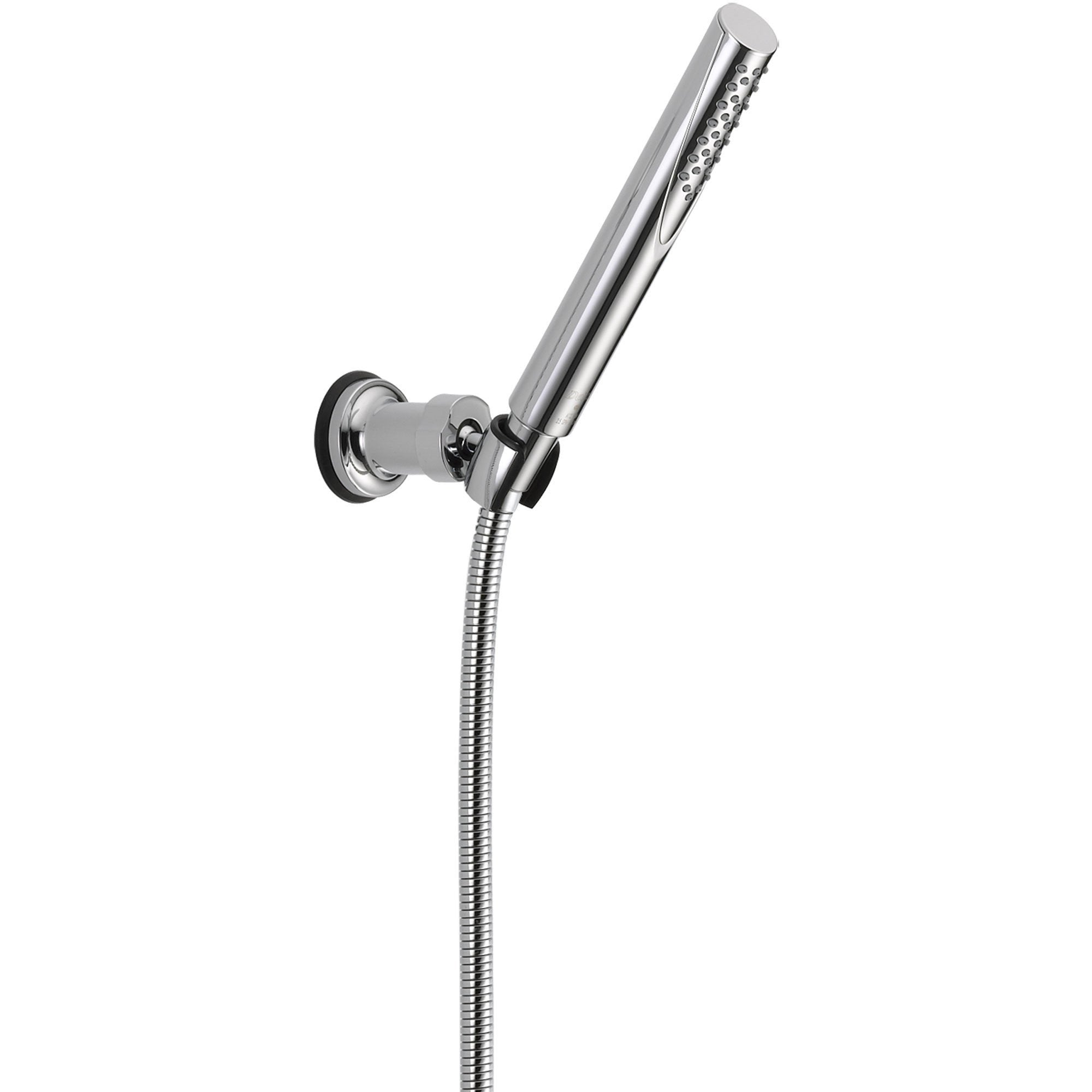 delta trinsic modern chrome handheld shower head w wall bracket and hose