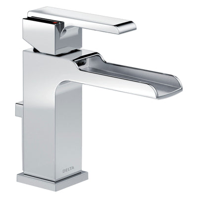 Delta Chrome Finish Modern Ara Collection Single Handle Channel Waterfall Spout Bathroom Sink Faucet, Towel Ring, and Robe Hook Package D010CR