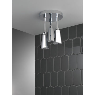 Delta Chrome Finish 2.5 GPM H2Okinetic Pendant Triple Ceiling Mount Raincan Shower Head with Water-Powered LED Light D5714025L