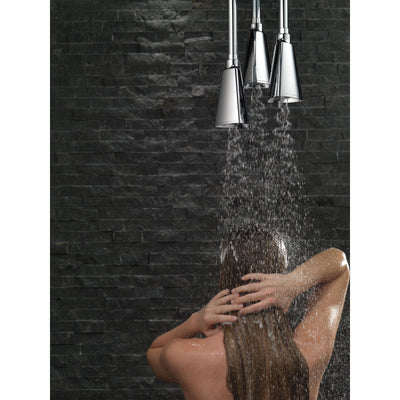 Delta Chrome Finish 2.5 GPM Zura H2OKinetic Pendant Triple Ceiling Mount Raincan Shower Head D5714025