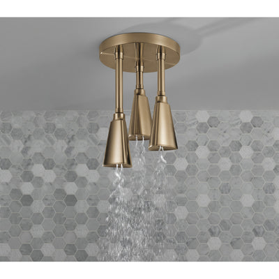 Delta Champagne Bronze Finish 1.75 GPM H2Okinetic Pendant Triple Ceiling Mount Raincan Shower Head D57140CZ