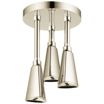 Delta Polished Nickel Finish 2.5 GPM Zura H2OKinetic Pendant Triple Ceiling Mount Raincan Shower Head D57140PN25