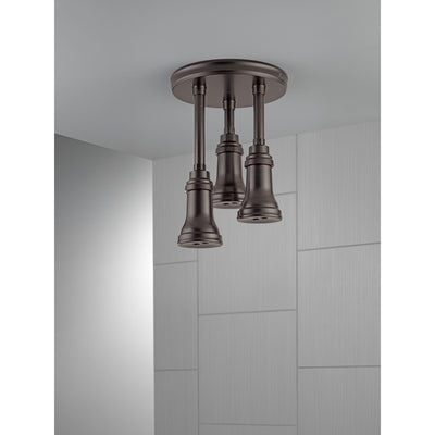 Delta Venetian Bronze Finish 2.5 GPM H2Okinetic Pendant Triple Ceiling Mount Raincan Shower Head D57190RB25